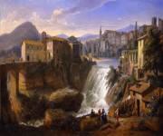 villa-gregoriana-Veduta-di-Tivoli-con-la-cascata-vecchia-dell-aniene_gaspar-van-wittel-1736